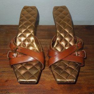 YSL Yves Saint Laurent Wooden Heels Sandals 8